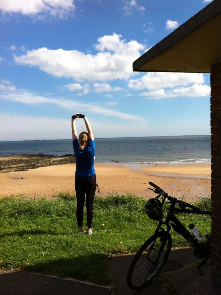 Stretching at Tynemouth longsands