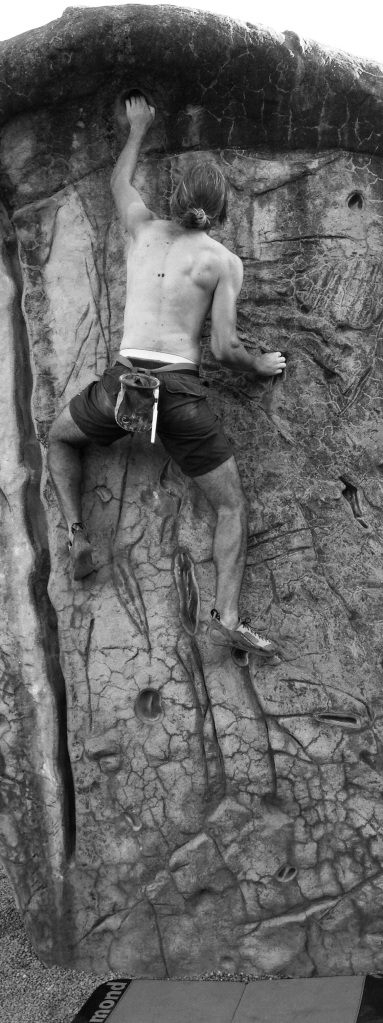 Climbing the artificial wall at Wickham Thorns